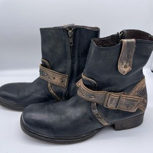 Bed Stu Black and Brown Distressed Boots